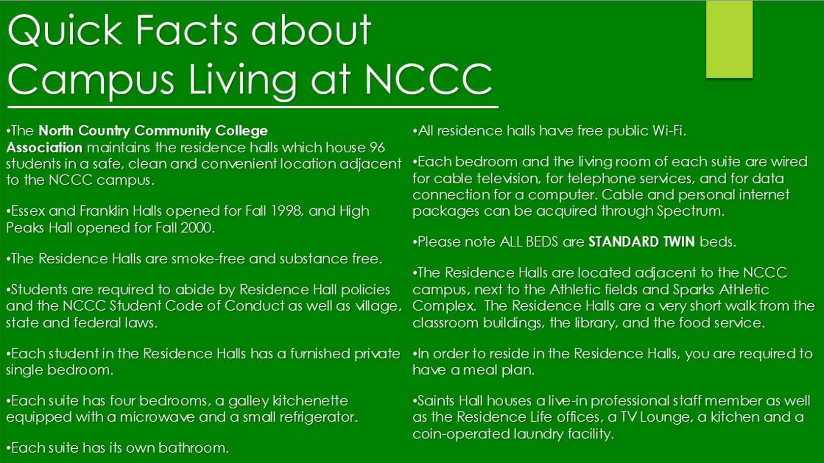 Quick Facts about Campus Living