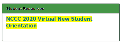 NCCC Virtual New Student Orientation